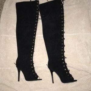 3aa5fbd41a71 Women s Thigh High Open Toe Boots on Poshmark